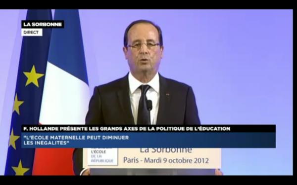 François Hollande, ce matin à la Sorbonne.