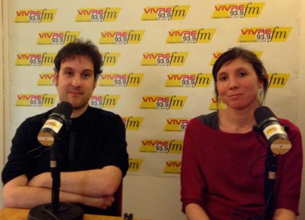 Cécile Bruley et Marc Terrisse dans les studios de Vivre FM