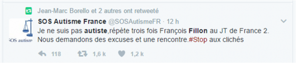 Fillon autiste tweet SOS Autisme France