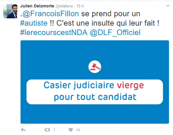 Fillon autiste tweet Julien Delamorte