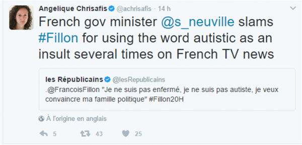 Fillon autiste tweet Angelique Chrisafis